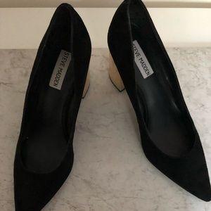 Steve Madden gold block heels
